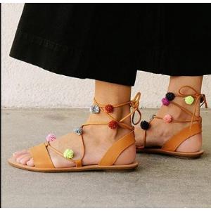 Loeffler Randall - Saskia Pom-Pom Leather Lace-Up Sandals - saks.com