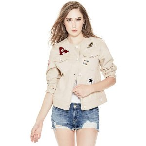 Ecru Patch Jacket at Guess