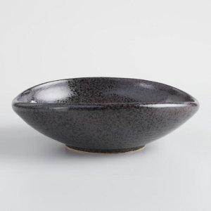 Black Zen Shallow Salad Bowls Set of 2