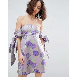 ASOS SALON Jacquard Bow Tie Cold Shoulder Empire Mini Dress