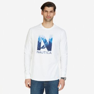 Leaves Graphic Long Sleeve T-Shirt - Bright White | Nautica