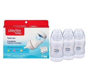 Playtex Baby Ventaire Anti Colic Baby Bottle, BPA Free, 6 Ounce - 3 Pack