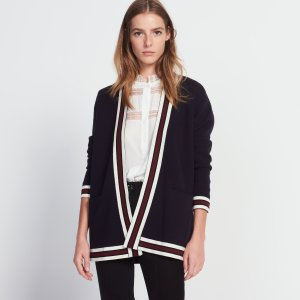 Long cardigan with contrasting bands