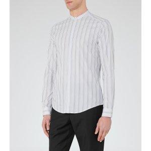 James White Stripe Grandad Collar Shirt - REISS
