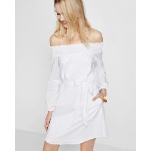 Smocked Off The Shoulder Linen-cotton Tunic Dress