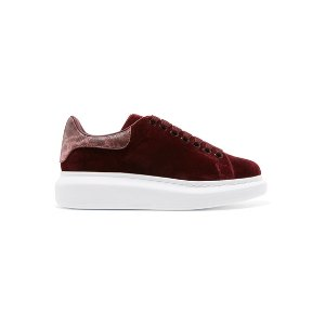 Alexander McQueen | Snake-trimmed velvet exaggerated-sole sneakers