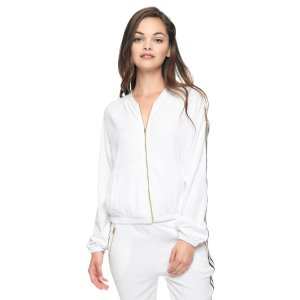 MICRO TERRY RACER STRIPE JACKET - Juicy Couture