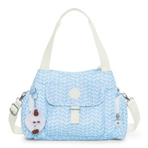Felix Printed Handbag - Chevron Pool Blue | Kipling