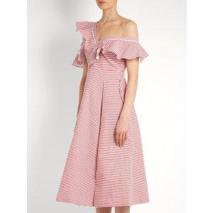 One-shoulder striped cotton dress | Self-portrait