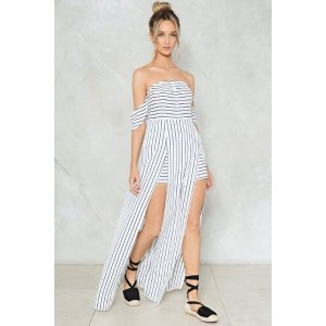 Living On a Thin Line Pinstripe Romper   Shop Clothes at Nasty Gal!