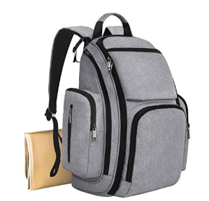 $22Mancro Diaper Bag Backpack, Organizer Back Pack for Mom / Dad with Baby Stroller Straps, Changing Pad & Insulated Pockets, Water Resistant Anti-theft Travel Bags for Boys / Girls Care in Grey