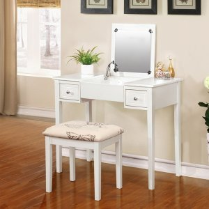 Linon Alessandra White Vanity Table with Mirror & Stool | Overstock.com Shopping - The Best Deals on Bedroom Accents