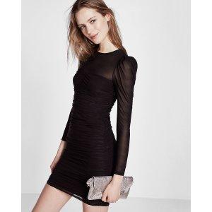 Ruched Long Sleeve Mini Sheath Dress
