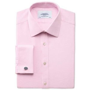 Classic fit Egyptian cotton cavalry twill light pink shirt | Charles Tyrwhitt