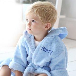 Baby's Hooded Fleece Robe - Blue