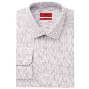 Alfani RED Men's Fitted Performance Stretch Easy Care Burgundy Dobby Dress Shirt, Only at Macy's - Dress Shirts - Men - Macy's