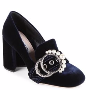 Embellished Velvet Loafer Pumps