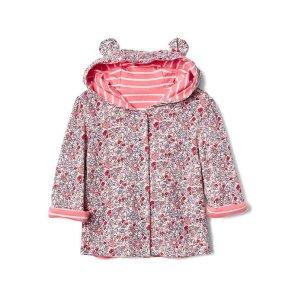Reversible floral bear zip hoodie