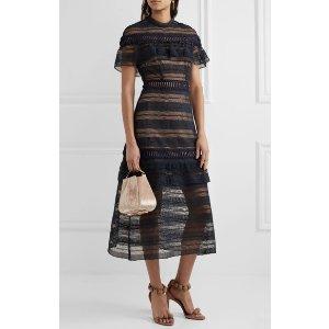 SELF-PORTRAIT 黑色长款连衣裙