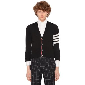 THOM BROWNE - INTARSIA STRIPES CASHMERE SHORT CARDIGAN