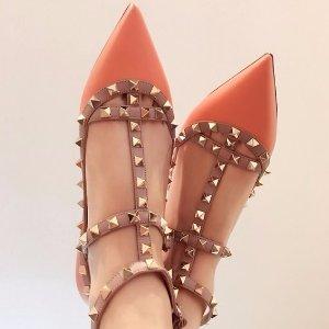 低至4折 部分款式码全Valentino  女士铆钉中跟鞋,平底鞋,凉鞋等鞋履