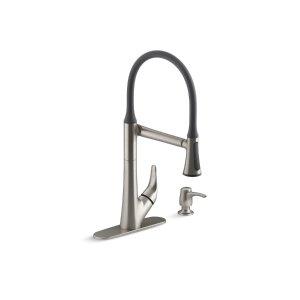 $189KOHLER Arise Vibrant Stainless 1-Handle Deck Mount Pull-Down Kitchen Faucet