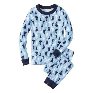 Hanna Andersson Sky Blue Rocket Ship Organic Cotton Long John Pajama Set | zulily
