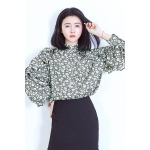 Like Sharbet Flower Blouse--Green