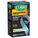 Curad Performance Series Extreme Hold Antibacterial Fabric Bandages, 20 Count