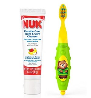 NUK Toddler Tooth and Gum Cleanser with 1.4 Ounce Toothpaste