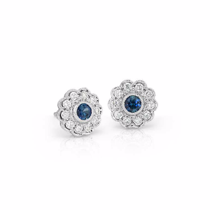 Sapphire and Diamond Vintage-Inspired Fiore Stud Earrings in 14k White Gold (3mm) | Blue Nile