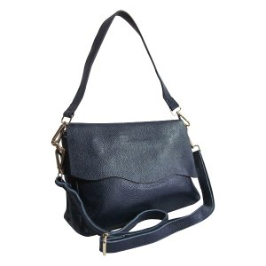 Amerileather Navy Fold-Over Scalloped-Edge Leather Shoulder Bag | zulily