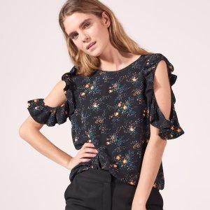 Floral Top With Bare Shoulders - Tops & Shirts - Sandro-paris.com