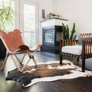 Synthetic Beige/ Brown Rawhide Rug (3'10 x 5') | Overstock.com Shopping - The Best Deals on 3x5 - 4x6 Rugs