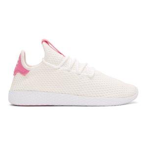 adidas Originals x Pharrell Williams - White & Pink Tennis Hu Sneakers