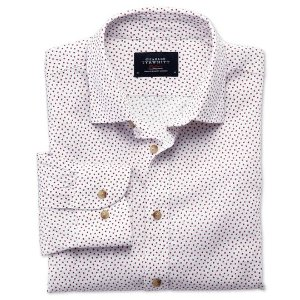 Classic fit white and pink square print shirt | Charles Tyrwhitt