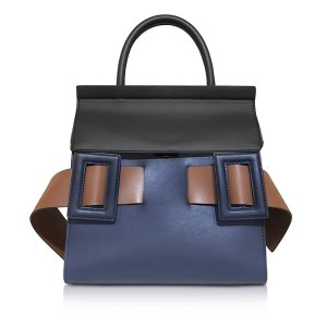 Marni Blue China, Coffee and Gold Brown Leather Dual Tote Bag at FORZIERI
