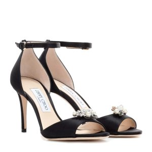 Jimmy Choo - Tori 85 satin sandals with crystal-embellished clips