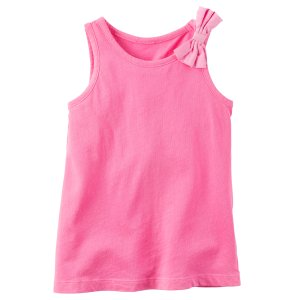 Baby Girl Garment-Dyed Bow Tank | Carters.com