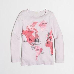 Girls' long-sleeve foil map keepsake T-shirt : keepsake t-shirts | J.Crew Factory