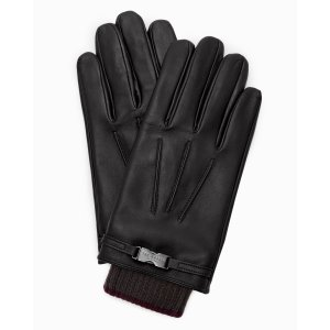 Clip detail leather gloves