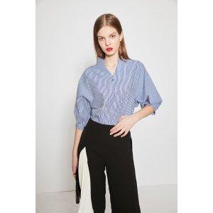 Fashion Stripe Shirt With Back Button