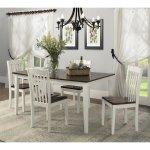 Dorel Shiloh 5-Piece Creamy White / Rustic Mahogany Dining Set