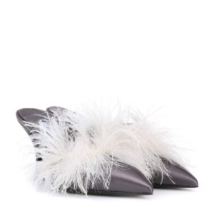 Exclusive to mytheresa.com – feather-trimmed satin mules