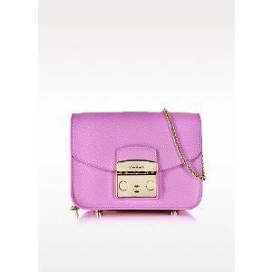 Furla Lilac Leather Metropolis Mini Crossbody Bag