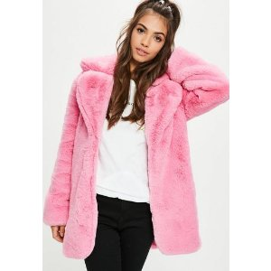 Missguided - Pink Faux Fur Coat With Collar