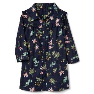 Floral ruffle shirtdress