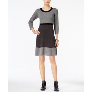 Tommy Hilfiger Colorblocked Ribbed Sweater Dress - Dresses - Women - Macy's