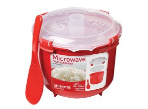 $11.8 Sistema Microwave Cookware Rice Steamer, 87.2 Ounce/ 10.9 Cup, Red