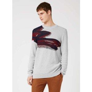 TOPMAN PREMIUM Grey Paint Splash Print Viscose Rich Sweater - View All Sale - Sale - TOPMAN USA